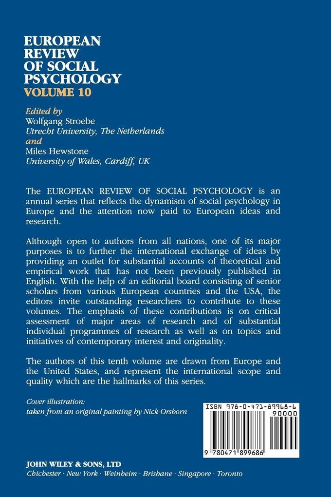 European Review of Social Psychology V10 als Taschenbuch