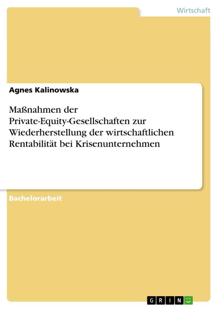 Maßnahmen der Private-Equity-Gesellschaften zur Wiederherstellung der wirtschaftlichen Rentabilität bei Krisenunternehmen als Buch (kartoniert)