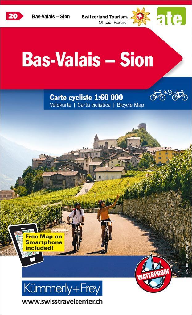 Radwanderkarte Bas Valais - Sion mit Ortsindex (20) 1:60 000 als Blätter und Karten