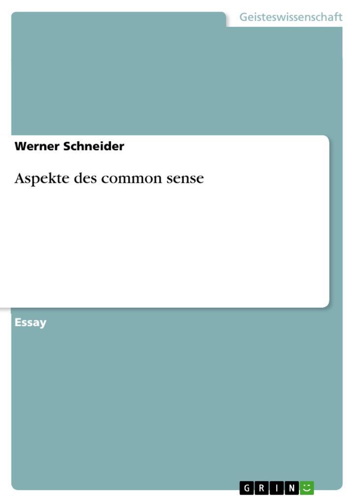 Aspekte des common sense als Buch (kartoniert)