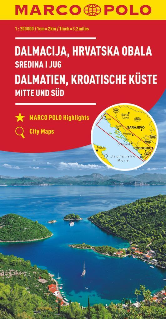MARCO POLO Karte HR Dalmatien, Kroatische Küste 1: 200 000 als Blätter und Karten