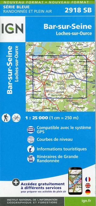 2918SB Bar-sur-Seine.Loches-sur-Ource als Blätter und Karten