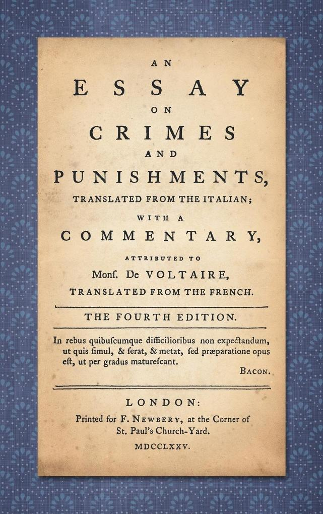 An Essay on Crimes and Punishments als Buch (gebunden)