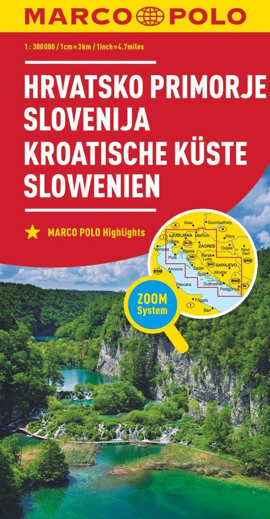 MARCO POLO Karte Kroatische Küste, Slowenien 1:300 000 als Blätter und Karten