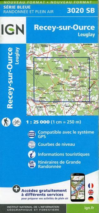 3020SB Recey-sur-Ource.Leuglay als Blätter und Karten