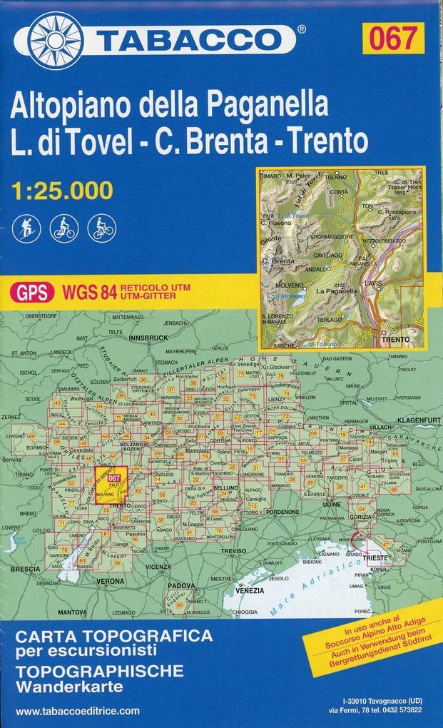 Tabacco Wandern 1 : 25 000 Altopiano della Paganella. L. di Tovel - C. Brenta - Trento als Blätter und Karten