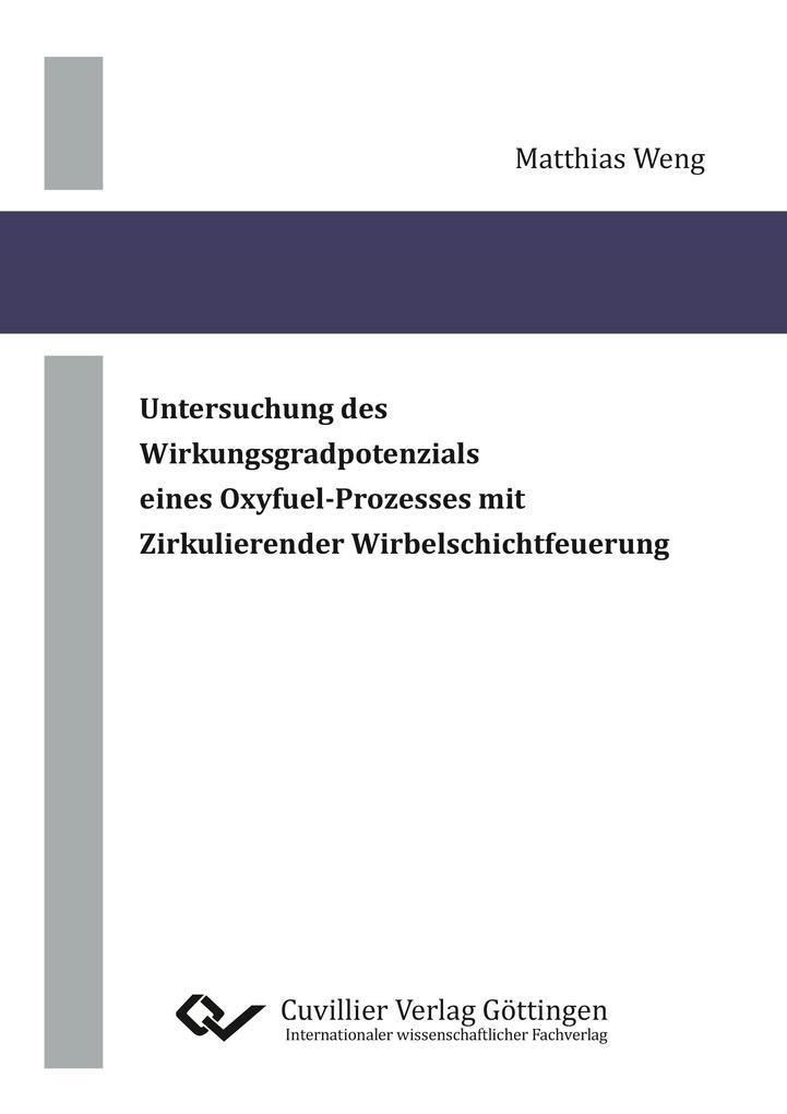 Untersuchung des Wirkungsgradpotenzials eines Oxyfuel-Prozesses mit Zirkulierender Wirbelschichtfeuerung als Buch (gebunden)