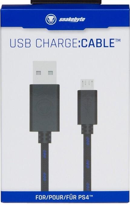 snakebyte - USB charge:cable - für Dualshock 4 Controller, Ladekabel für PS4 & Xbox One, Kompatibel (3m Meshcable) als Software
