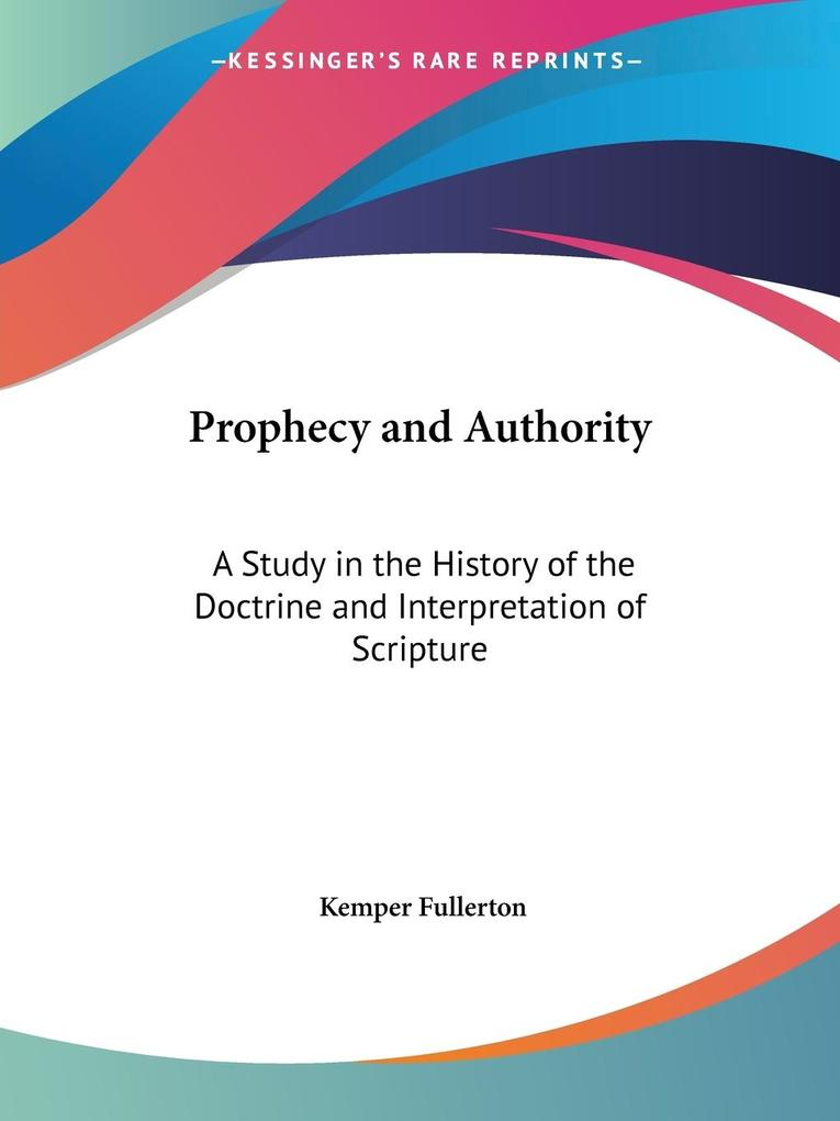 Prophecy and Authority als Taschenbuch