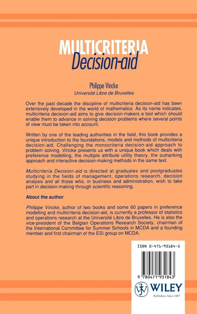 Multicriteria Decision-Aid als Buch (gebunden)