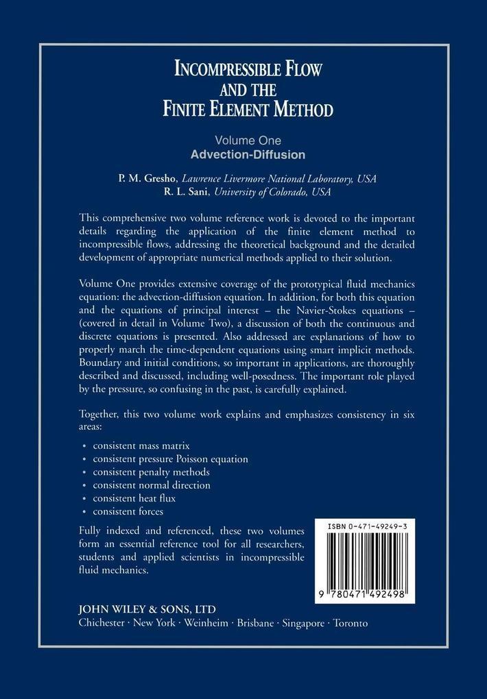 Incompressible Flow  Finite Element V 1 als Buch (kartoniert)