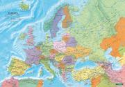 Europa politisch, Poster 1:6 000 000 Metallbestäbt in Rolle