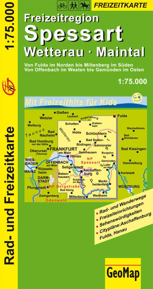 GeoMap Karte Freizeitregion Spessart, Wetterau, Maintal als Blätter und Karten
