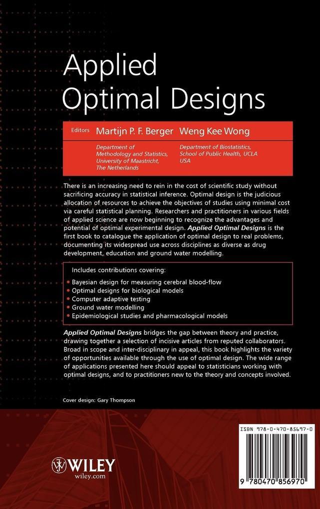 Applied Optimal Designs als Buch (gebunden)