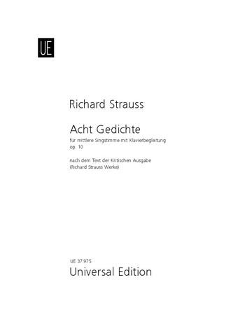 """8 Gedichte. Aus """"Letzte Blätter"""" von Hermann von Gilm. - Für mittlere Stimme und Klavier als Buch (geheftet)"""