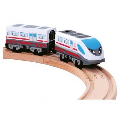 Bino 82057 - Lokomotive mit Waggon, batteriebetriebene als Spielware