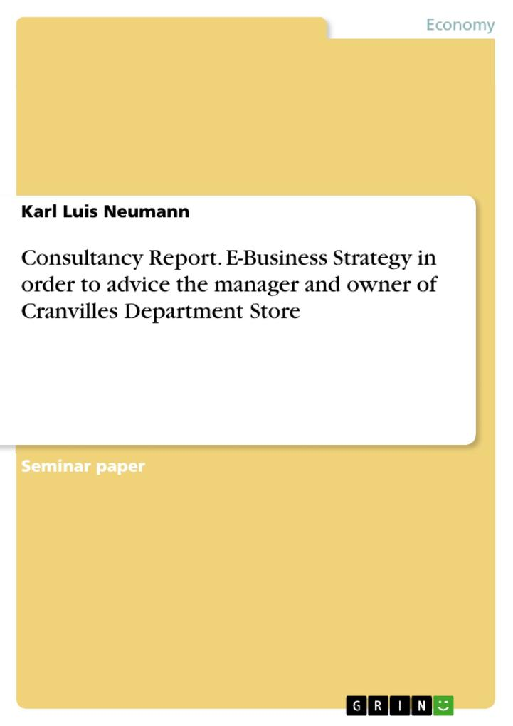 Consultancy Report. E-Business Strategy in order to advice the manager and owner of Cranvilles Department Store als eBook pdf