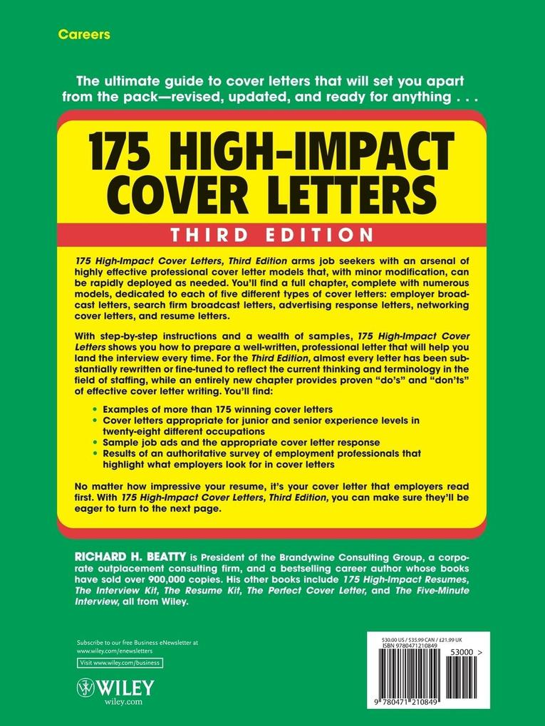 175 High-Impact Cover Letters als Taschenbuch