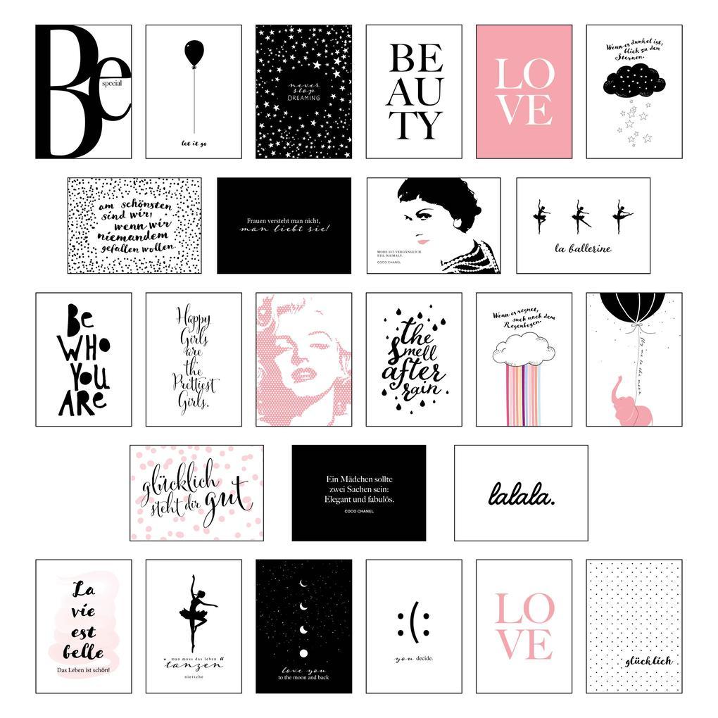 Schönes Postkarten Set mit 25 modernen und stylishen Postkarten zum Dekorieren oder Verschenken. Feminine Bilder, Sprüche und Statements für Frauen. Hochwertige Spruchkarten in dekorativer Box. als Sonstiger Artikel