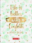 Schülerkalender, 12 x 16 cm, Confetti, Hardcover, 1 Seite / 1 Tag, 2019/ 2020, 12 Monate