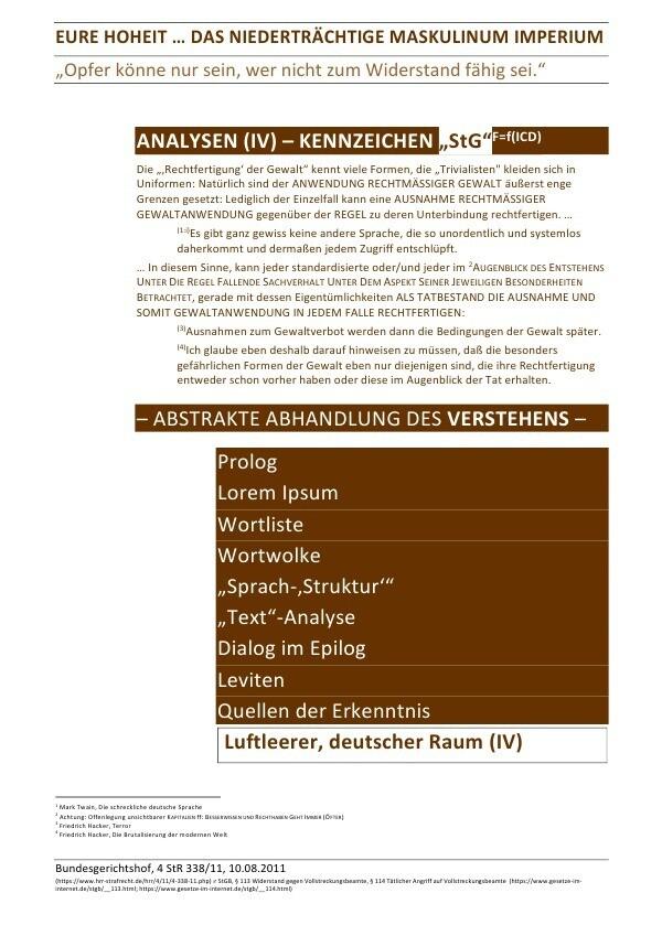 """EURE HOHEIT ... DAS NIEDERTRÄCHTIGE MASKULINUM IMPERIUM - ANALYSEN (IV) - KENNZEICHEN """"StG"""" als Buch (kartoniert)"""