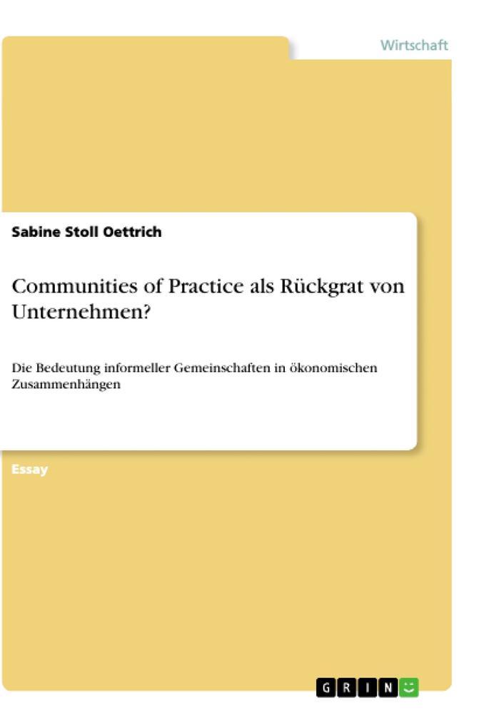 Communities of Practice als Rückgrat von Unternehmen? als Buch (kartoniert)