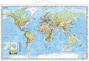 Weltkarte deutsch Kleinformat. Wandkarte mit Metallleiste