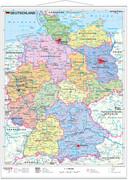 Deutschland politisch. Wandkarte mit Metallleiste