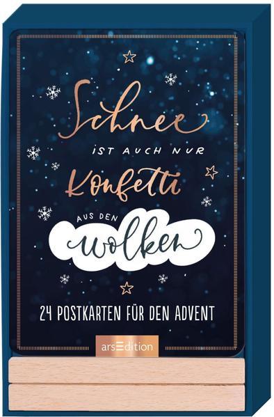 Adventskalender Schnee ist auch nur Konfetti aus den Wolken - 24 Sprüche-Postkarten in schönem Handlettering-Design mit Holzständer als Kalender