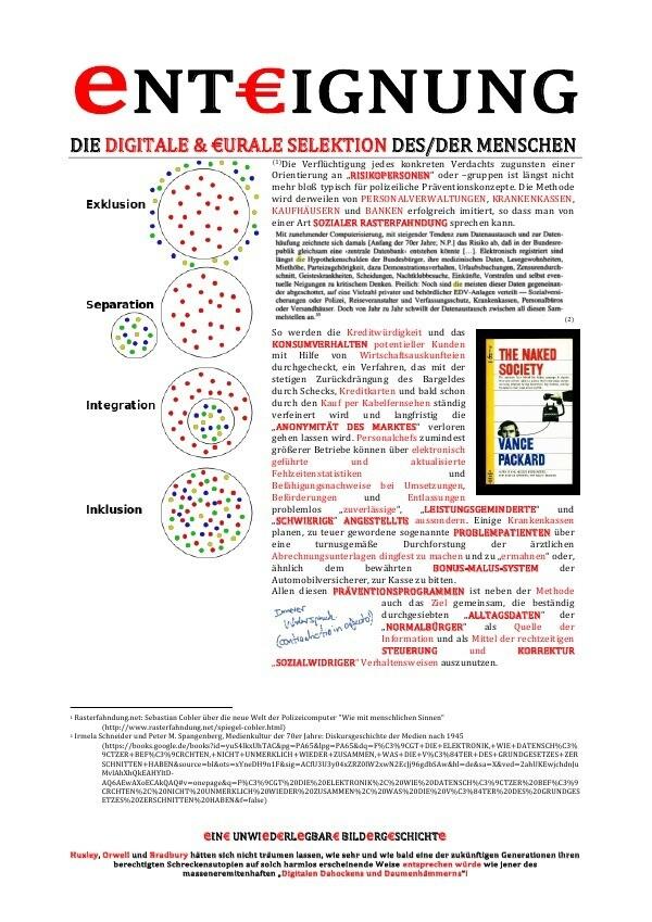 eNTEURIGNUNG (DIE DIGITALE & EURURALE SELEKTION DES/DER MENSCHEN ... eINEUR UNWIeDEURRLeGBAREUR BILD als Buch (kartoniert)
