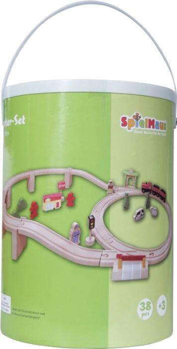 SpielMaus Holz Holzeisenbahn in Trommel, 38-teilig als Spielware