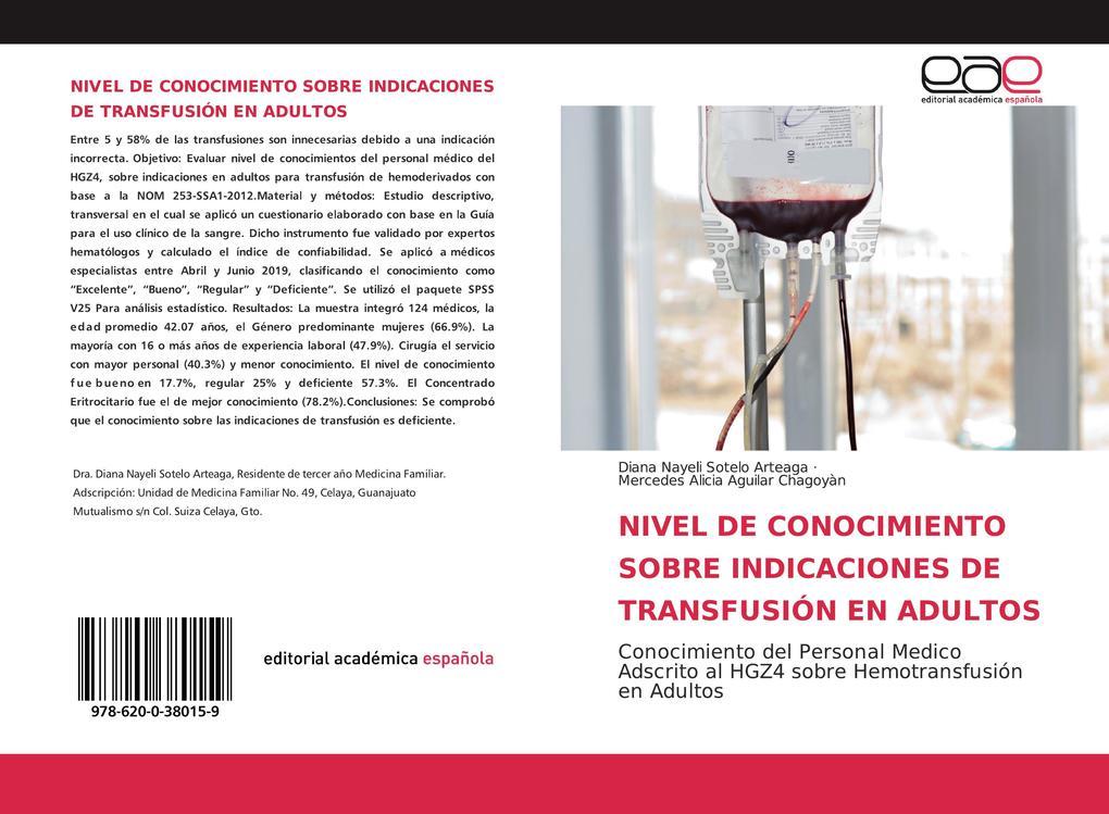 NIVEL DE CONOCIMIENTO SOBRE INDICACIONES DE TRANSFUSIÓN EN ADULTOS als Buch (kartoniert)