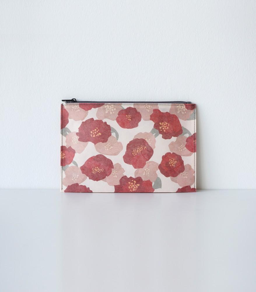 Hanji-Papiertasche Federmäppchen Kosmetiktasche - Rot/Kamelie - aus traditionellem Hanji-Papier als Sonstiger Artikel