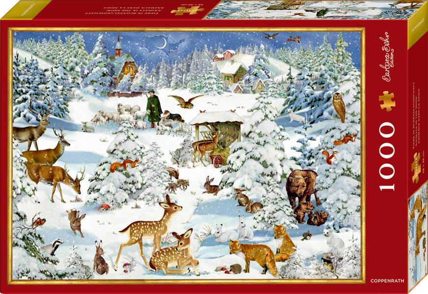 Boxpuzzle Tiere in Schneelandschaft (1000 Teile) als Spielware