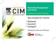 CIM Revision Cards:Marketing Management in Practice 05/06