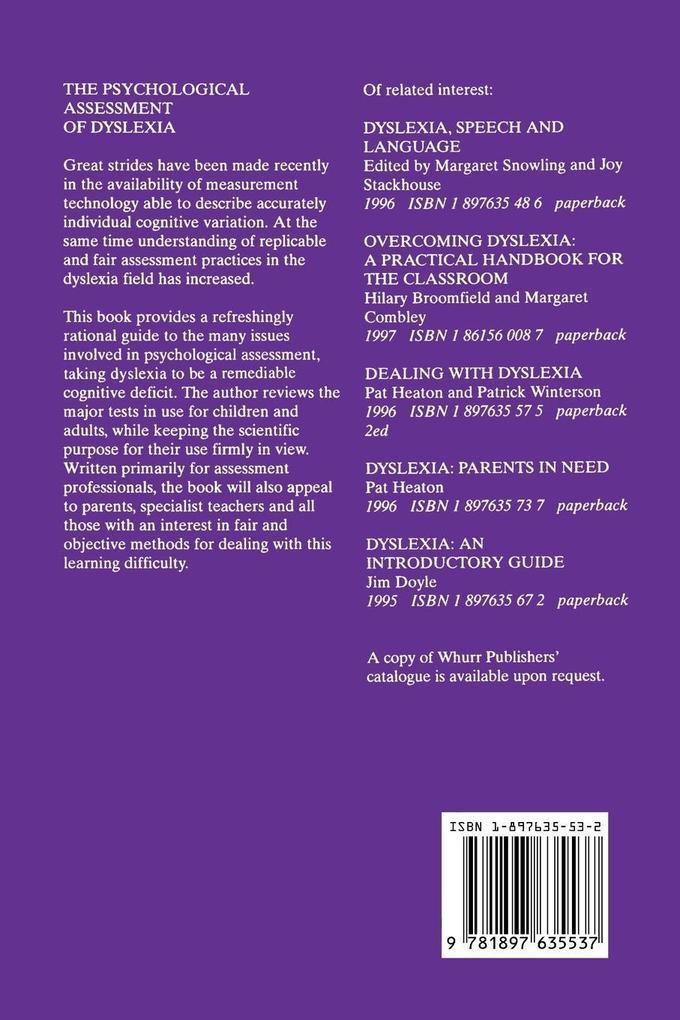 Psychological Assessment of Dyslexia als Taschenbuch