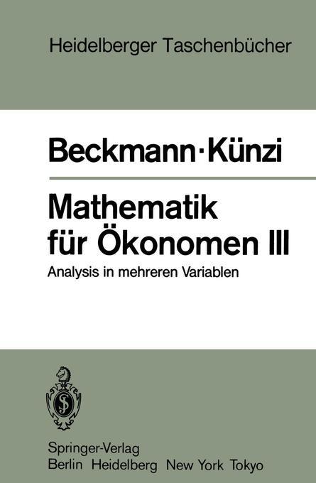 Mathematik für Ökonomen III. Tl.3 als Taschenbuch