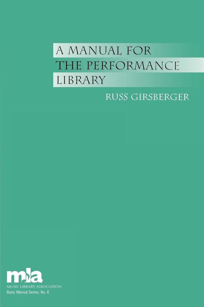 Manual for the Performance Library als Taschenbuch