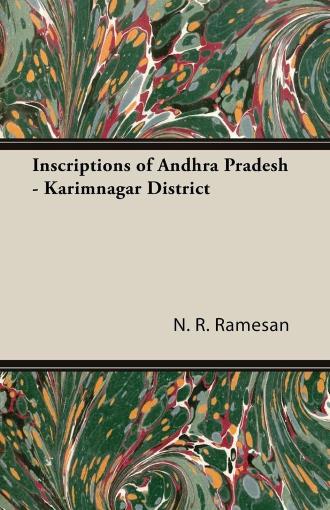 Inscriptions of Andhra Pradesh - Karimnagar District als Taschenbuch