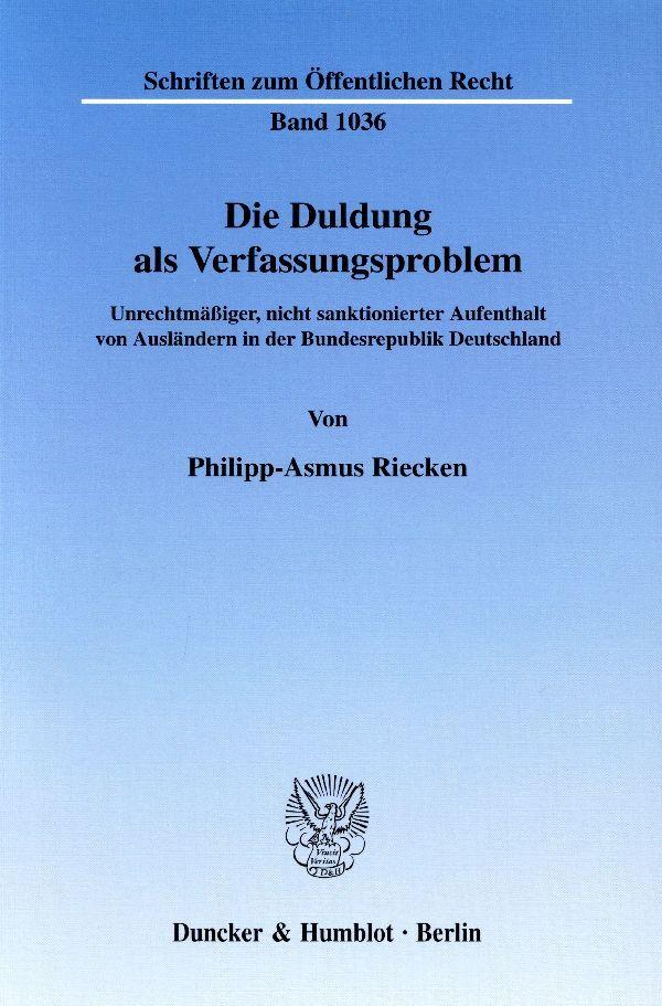 Die Duldung als Verfassungsproblem. als Buch (kartoniert)
