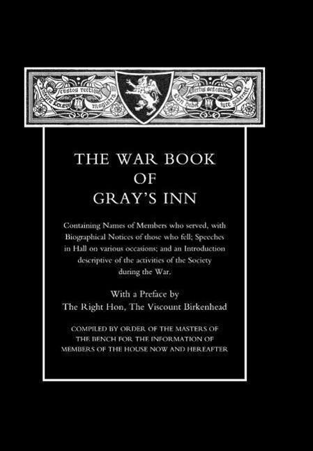 War Book of Gray's Inn als Buch (gebunden)