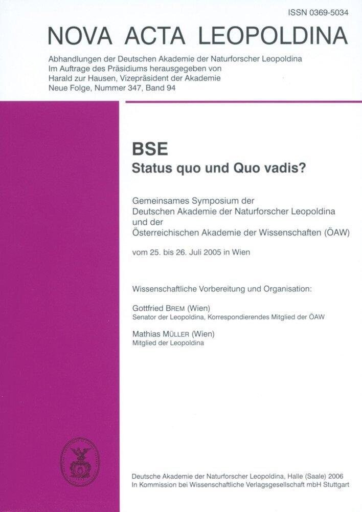 BSE - Status quo und Quo vadis? als Buch (kartoniert)
