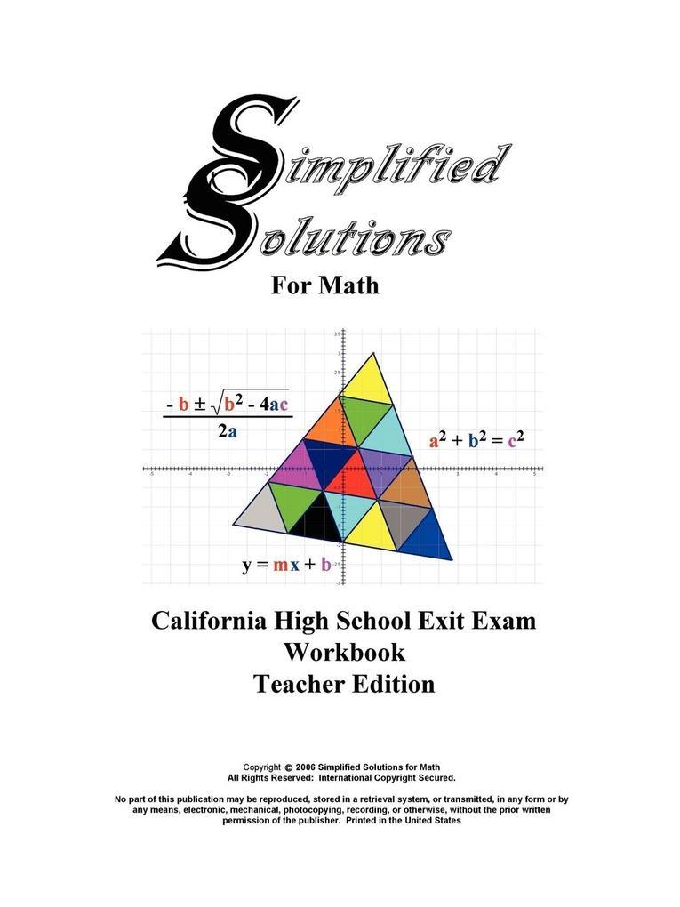 CAHSEE Teacher Edition Workbook als Taschenbuch