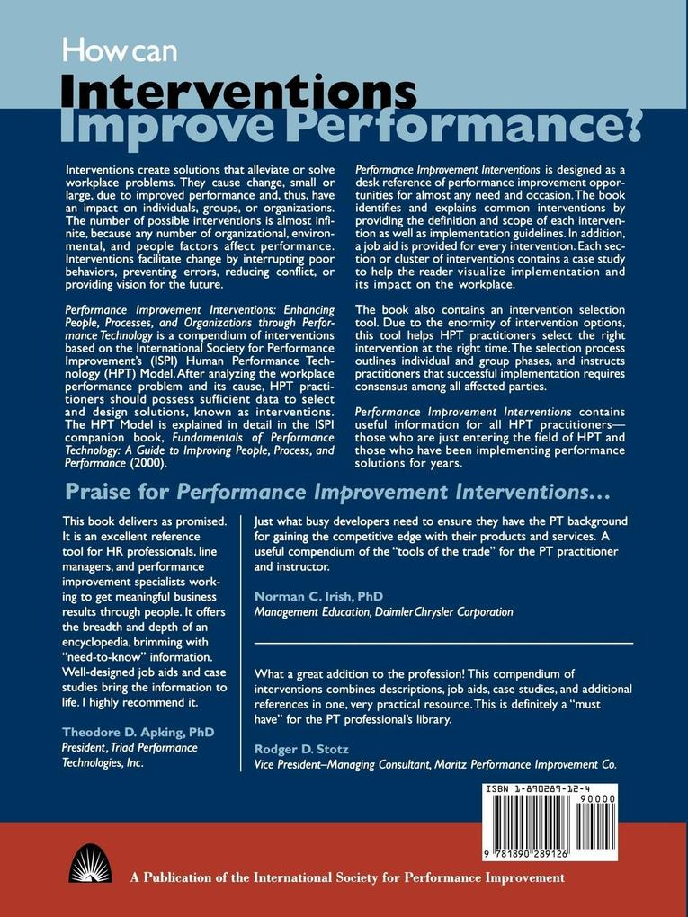 Performance Improvement Interventions als Taschenbuch