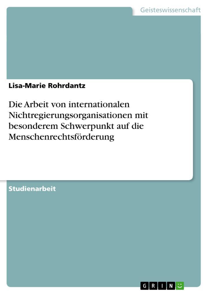 Die Arbeit von internationalen Nichtregierungsorganisationen mit besonderem Schwerpunkt auf die Menschenrechtsförderung als Buch (kartoniert)