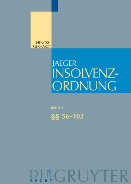 Insolvenzordnung. §§ 56-102 als Buch (gebunden)