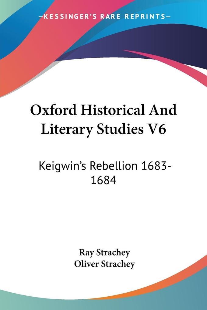 Oxford Historical And Literary Studies V6 als Taschenbuch