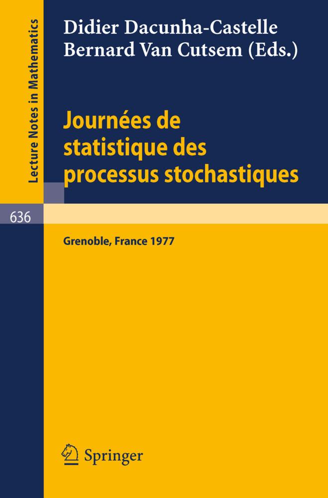 Journees de Statistique des Processus Stochastiques als Buch (kartoniert)