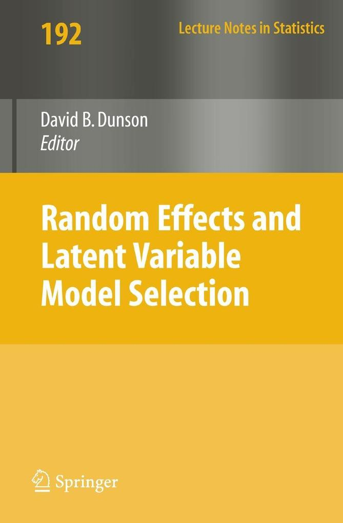 Random Effect and Latent Variable Model Selection als Buch (kartoniert)