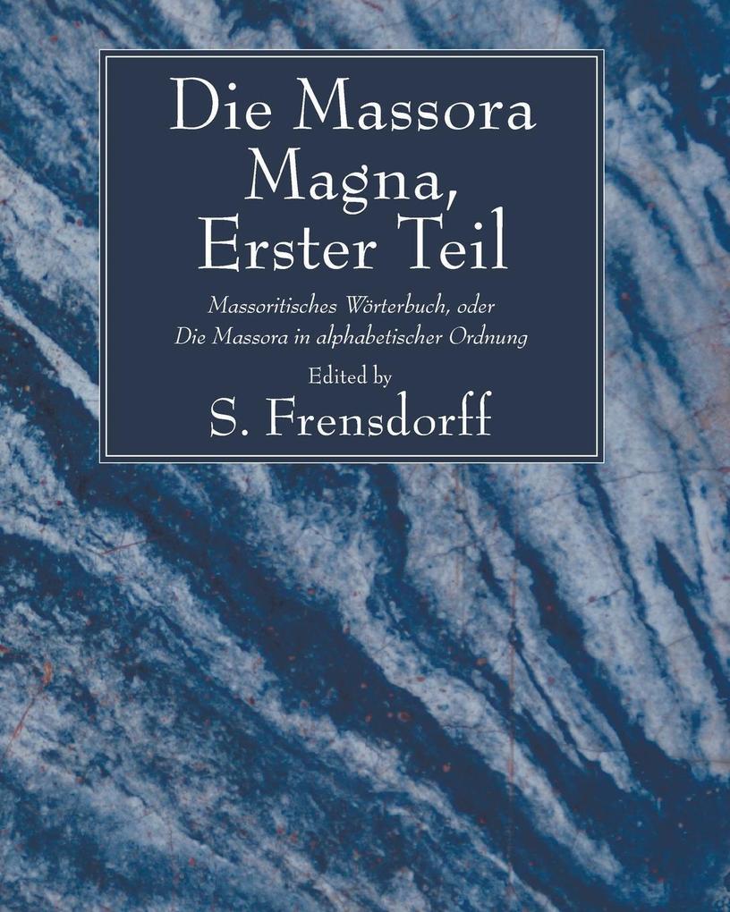 Die Massora Magna, Erster Teil als Taschenbuch